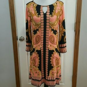 Hanni Paisley Chain Print Stretch Dress Size M